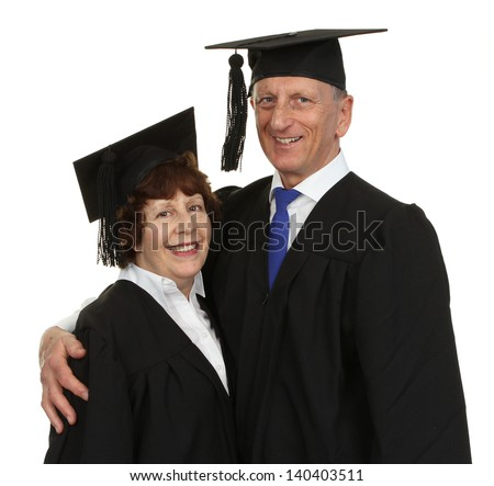 Happy Senior Graduate Couple Isolated Over White Background