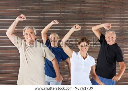 Happy senior group doing fitness exercises in gym - stock photo