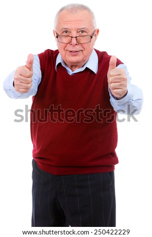 Happy senior in glasses showing two thumbs up gesture on white