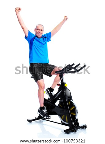 Happy senior man doing exercises. Sport and fitness. Isolated on white. - stock photo