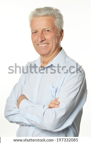 Happy senior man isolated on white background