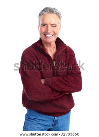 Happy senior man. Isolated over white background. - stock photo