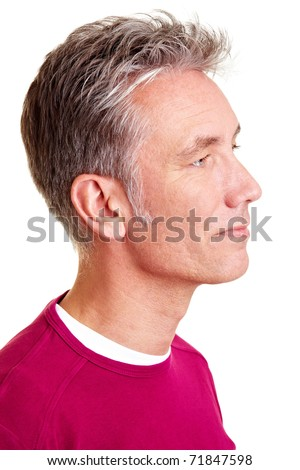 Happy senior man looking to the right side - stock photo