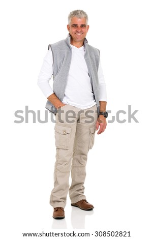 happy senior man posing on white background - stock photo
