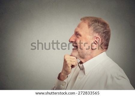 happy senior man thinking  - stock photo