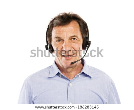 Happy senior man wearing headset, isolated on white background