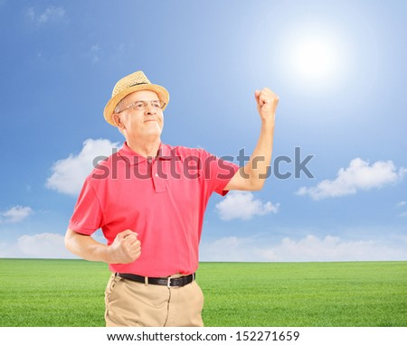 Happy senior man with raised hands gesturing happiness on a field, shot with a tilt and shift lens - stock photo