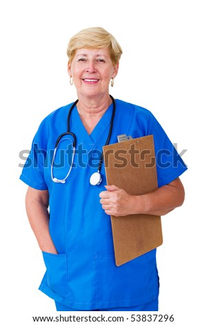 happy senior nurse with clipboard isolated on white - stock photo