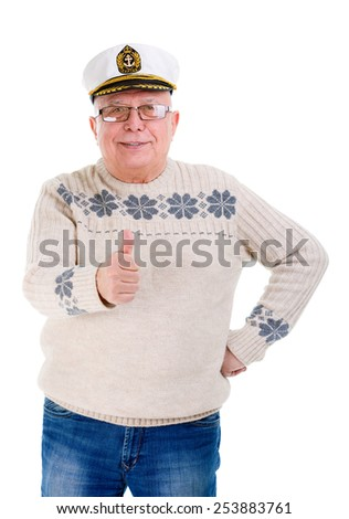 Happy senior old man in glasses showing thumb up gesture on white background isolated - stock photo
