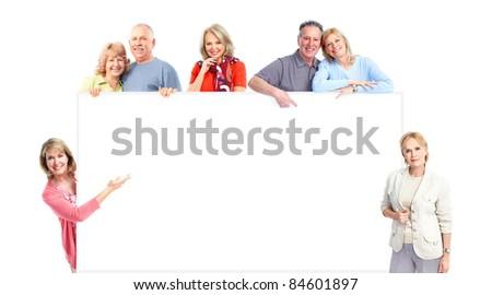 Happy senior people. Isolated over white background. - stock photo