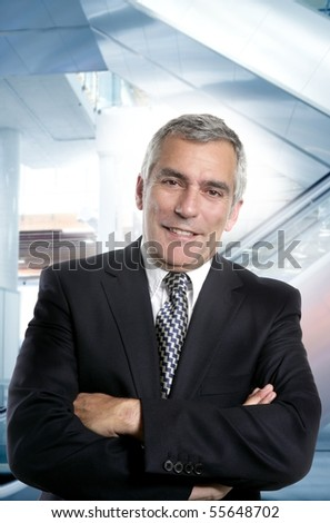 happy senior suit tie formal businessman smiling office gray hair [Photo Illustration] - stock photo