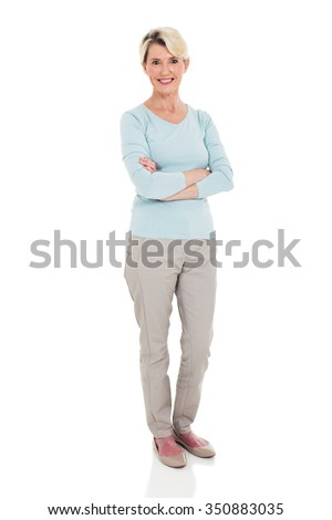 happy senior woman arms crossed isolated on white - stock photo