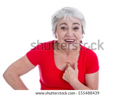 Happy senior woman cannot believe that's her - stock photo
