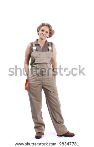Happy senior woman casual housework clothes (isolated on white) - stock photo