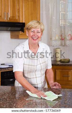 happy senior woman Cleaning Kitchen Counter - stock photo