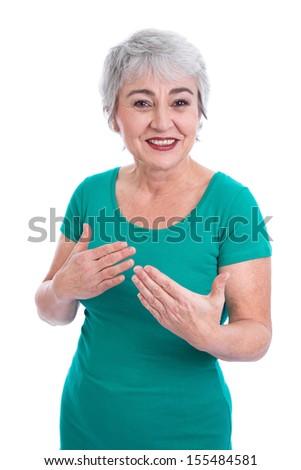 Happy senior woman explaining - stock photo