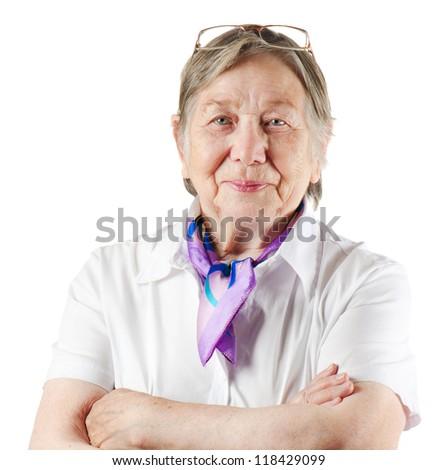 Happy senior woman isolated on white - stock photo