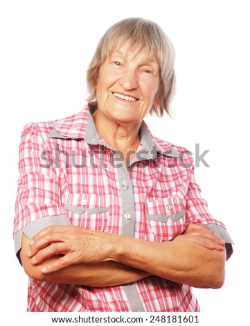 Happy senior woman isolated on white - stock photo