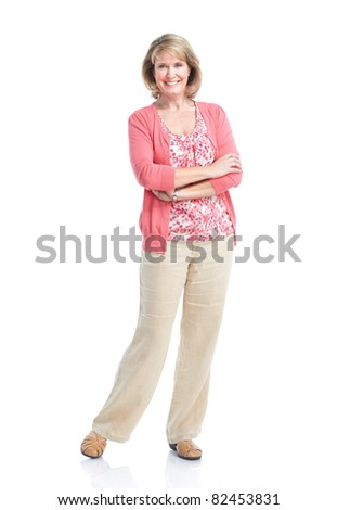 Happy senior woman. Isolated over white background. - stock photo