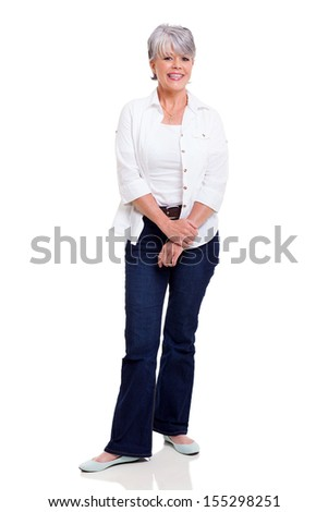 happy senior woman posing on white background - stock photo