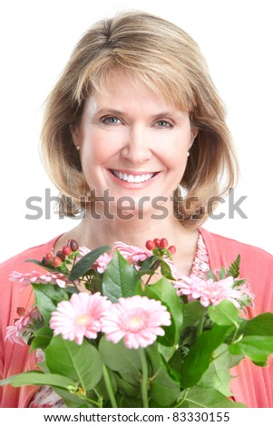 Happy senior woman with flowers. Over white background.