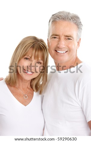 Happy seniors couple in love. Healthy teeth. Isolated over white background - stock photo