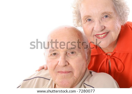 happy seniors headshot - stock photo