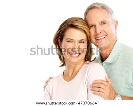 Happy senoir couple in love. Isolated over white background - stock photo