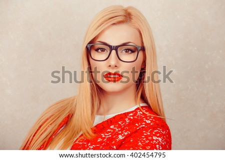Happy serious young beautiful happy business woman looking at you isolated white yellow background. Closeup confident lawyer teacher office manager. Positive human emotion facial expression attitude