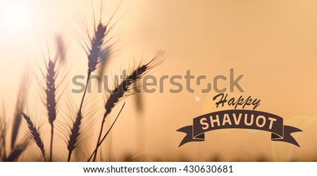 Happy Shavuot greeting card for the Jewish holiday of shavuot image illustration - stock photo