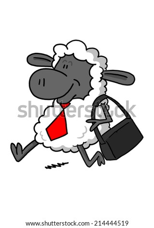 Happy sheep going to work - stock photo
