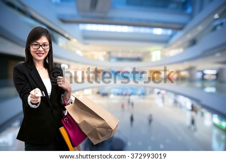 Happy shopping and pay with credit card - stock photo