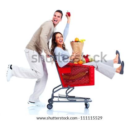 Happy shopping couple. Isolated on white background. - stock photo