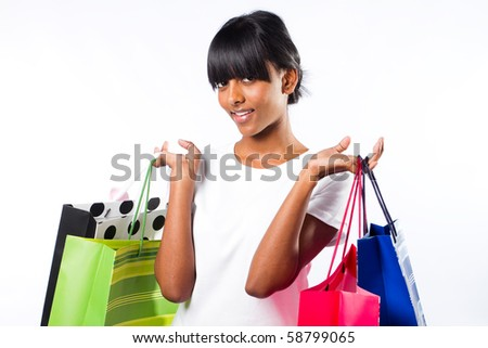 happy shopping indian girl - stock photo