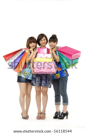 Happy shopping three asian woman - stock photo