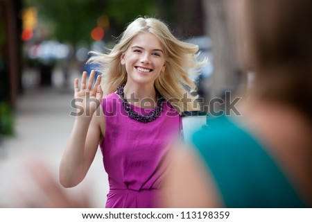 Happy shopping woman greeting friend on street - stock photo