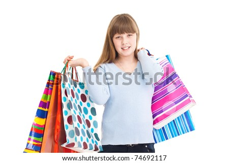 happy shopping young girl, isolated on white background, close up