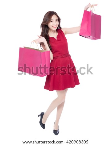 happy shopping young woman show bags - isolated on white background, full body, asian beauty