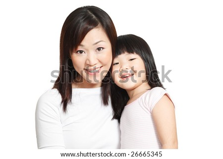Happy shot of Chinese little girl with her young mother isolated in white - stock photo