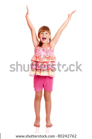 Happy shouting seven years girl standing excited isolated - stock photo