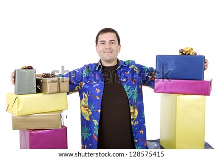 happy silly salesman with some boxes, isolated on white