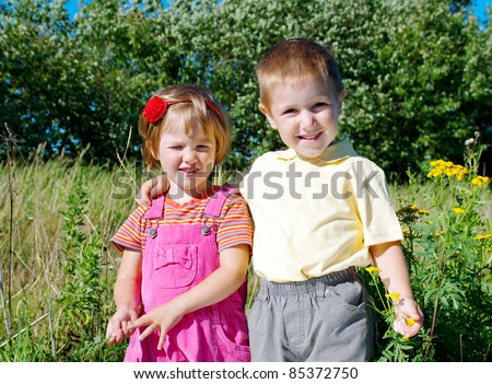 happy sister and brother  on the meadow