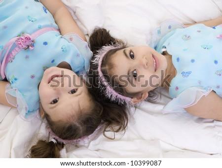 Happy sisters smiling. Bonding, Love, childhood - stock photo