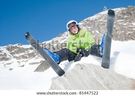 Happy ski vacation - stock photo