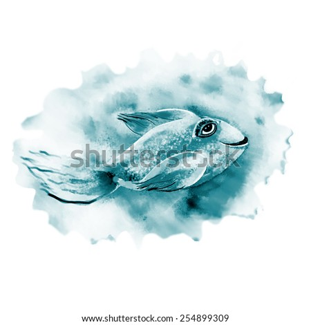 Happy small fish.Abstract fish smiles. Raster illustration.
