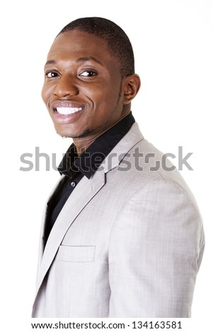 Happy smart black businessman smiling, isolated on white.
