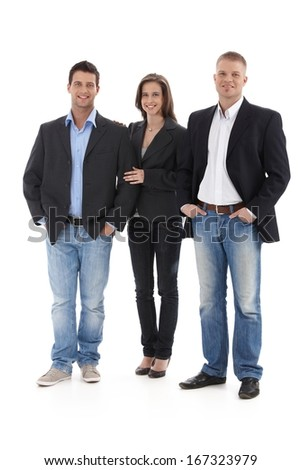 Happy smart group of friends, standing together, smiling, isolated, full size. - stock photo