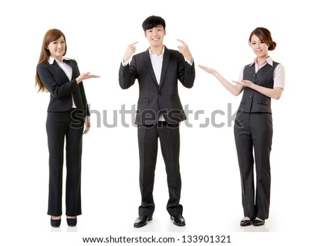 Happy smile business people, one man point himself and other women introduce him, full length portrait isolated on white background. - stock photo