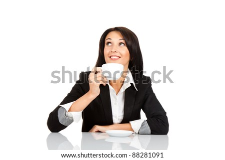 happy smile business woman hold cup of coffee drink sitting at the desk, think looking up, isolated over white background