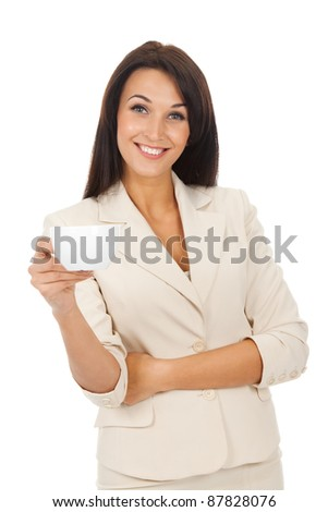 happy smile business woman hold cup of coffee isolated over white background